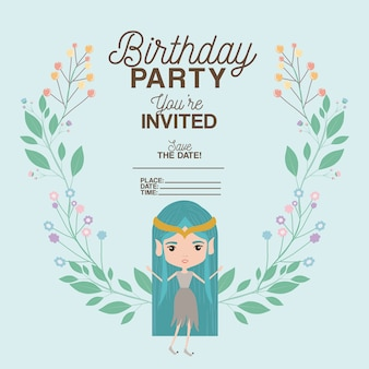 Fairy with floral decoration invitation card