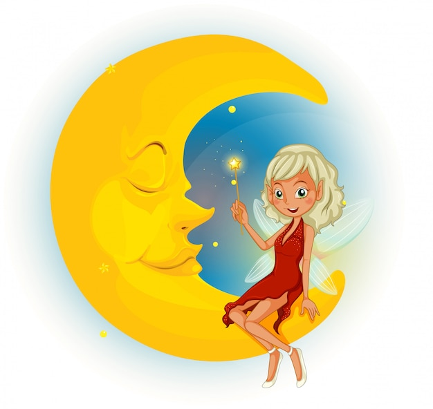 A fairy with a red dress beside the sleeping moon