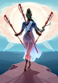 Fairy with three wands near the sea fantasy illustration