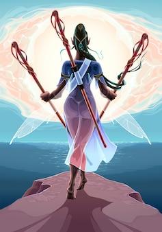 海のファンタジーイラストに近い3つの杖を持つ妖精