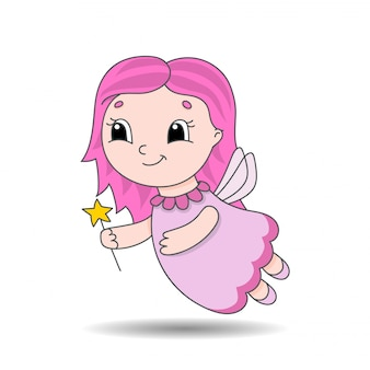 Fairy young girl in a dress with wings and a magic wand.