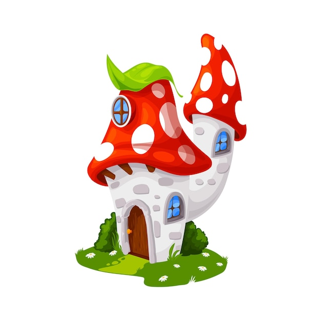 Fairytale amanita mushroom house, cartoon vector building, gnome dwelling. fly agaric fairy tale elf home with wooden door, windows and green leaf on roof. cute fungus fantasy house on green field