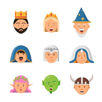 Fairytale avatars collection, fantasy game characters warrior queen barbarian goblin princess mascot in flat style