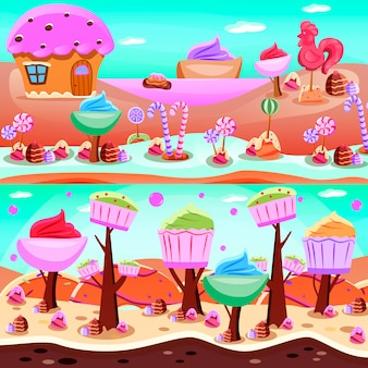 Fairytale candyland illustration set