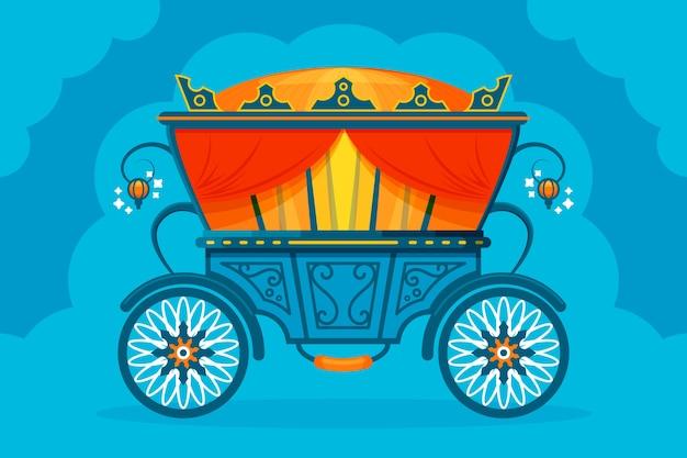 Сказочная коляска иллюстрированного дизайна
