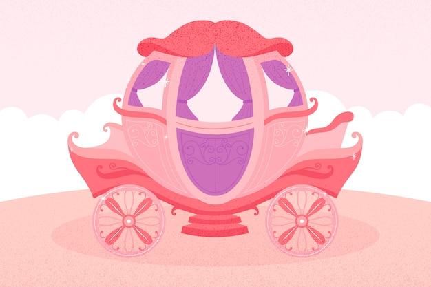 ピンクと紫の色調のおとぎ話の馬車