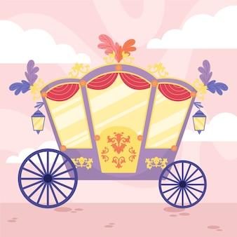 屋根の上に花を持つおとぎ話の馬車