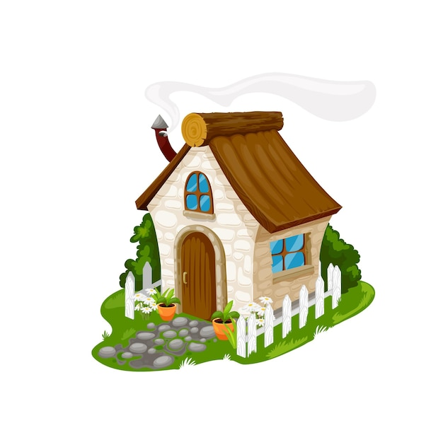 Fairytale cartoon stone house, vector fantasy dwelling for elf, dwarf, fairy or gnome. cute cozy home with wooden door, steaming pipe on sloping roof, windows, flowers at white fence, cartoon building