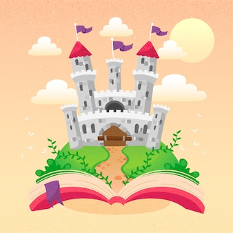 Fairytale castle appearing from a book
