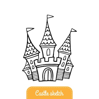 Fairytale castle in doodle style