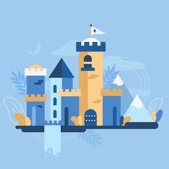 Fairytale castle flat design