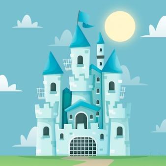 Fairytale castle flat design