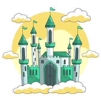 Fairytale castle hand drawn style