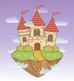 Сказочный замок в пейзажной сцене