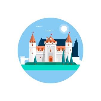 Сказочный замок, изолированных на белом. фея белый замок. векторные иллюстрации
