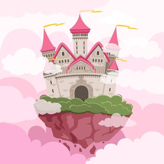 Fairytale castle with big towers in the sky. fantasy landscape background