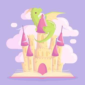 Fairytale castle with dragon