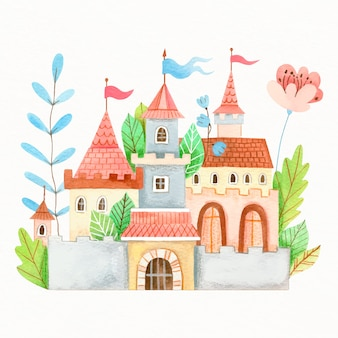 Fairytale castle with leaves and flowers
