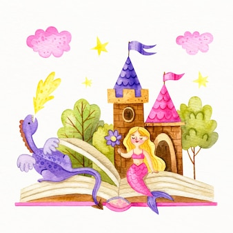 Fairytale castle with mermaid and dragon