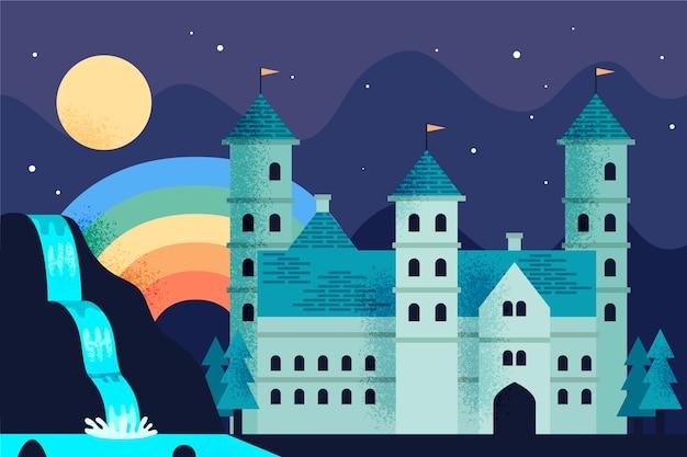 Fairytale castle with rainbow concept