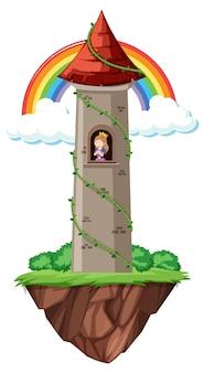 Castello da favola con arcobaleno su sfondo bianco