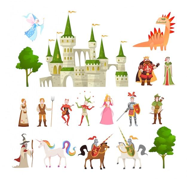 Сказочные персонажи. фэнтези средневековый волшебный дракон, единорог, принцы и король, королевский замок и рыцарь векторный набор