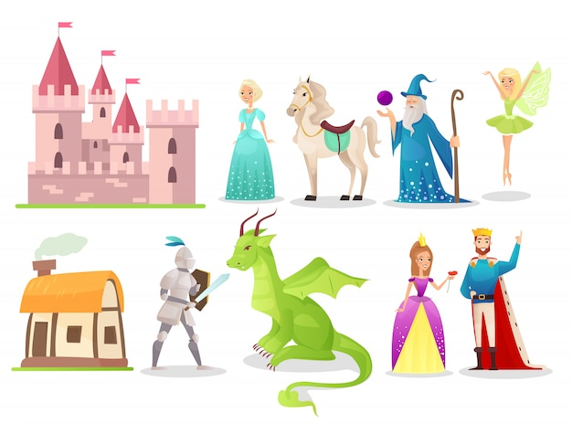 Fairytale characters flat illustrations set. brave knight fighting with dragon. magic fairy and wizard. cartoon queen, king and princess with white horse. medieval castle and old hut.