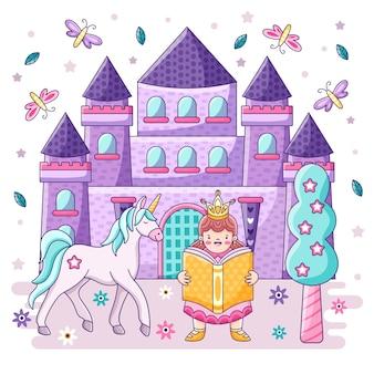 Fairytale concept castle and princess