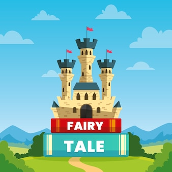 Fairytale concept with castle on books