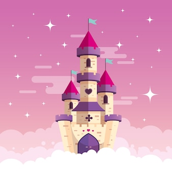 Fairytale concept with castle on clouds