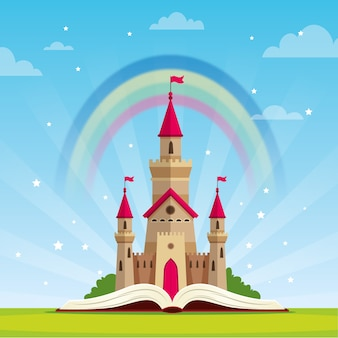 Fairytale concept with castle and rainbow