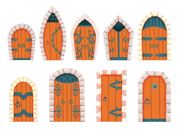 Сказочные двери средневековья. элемент средневекового замка или крепости. деревянные порталы с каменной аркой, петли из кованого металла. векторные мультяшные ворота, изолированные на белом фоне.