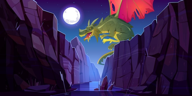 Fairytale dragon flying above river in canyon at night