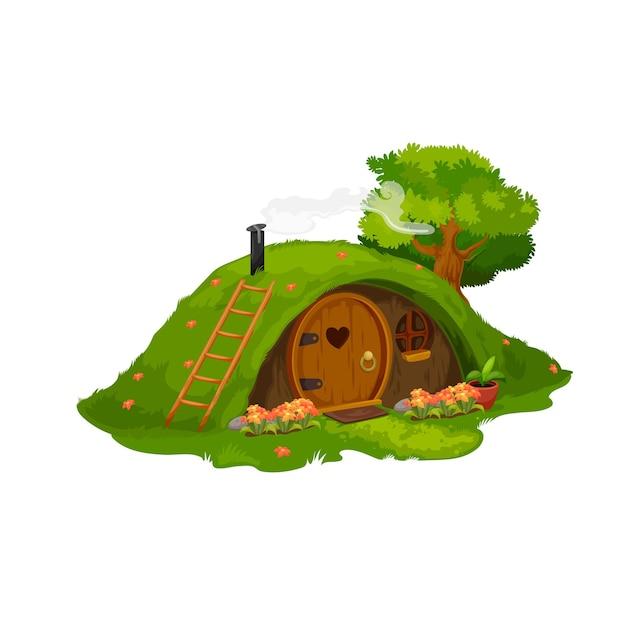 Сказочный дом хоббита или гнома, дом под холмом