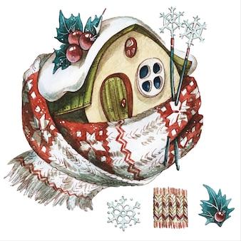 おとぎ話の家クリスマス物語アイテム手描き水彩イラストは、白い背景の上の新年のツリーと装飾を設定します