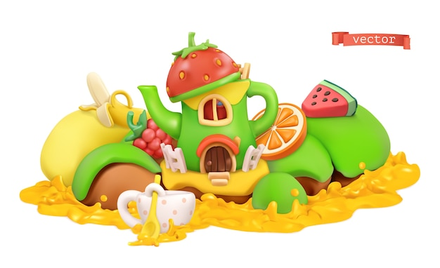 Fairytale house. sweet fruits. cartoon illustration