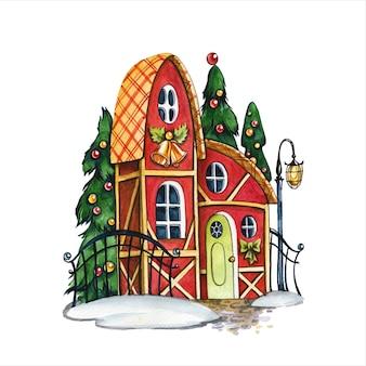 동화 오두막 손으로 그린 수채화 그림. 흰색 바탕에 장식 된 새 해 나무와 멋진 집. 크리스마스 징글 벨과 리본으로 된 건물 외부 수채화 그림