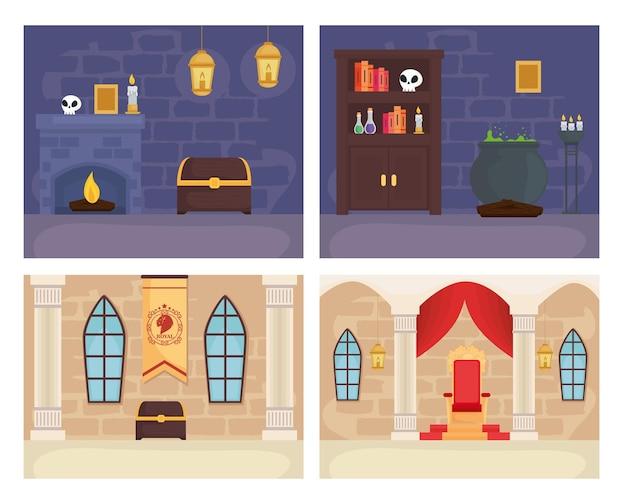 동화 왕과 마술사 방 그림 설정