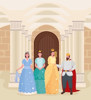 Fairytale king queen and princesses cartoons at castle illustration