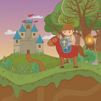 Fairytale landscape scene with castle and warrior in horse