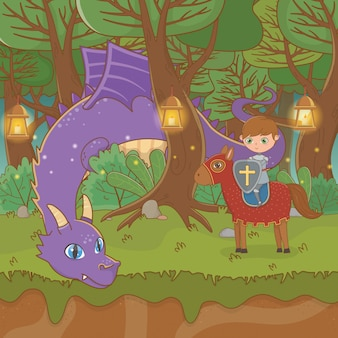 Fairytale landscape scene with dragon and warrior in horse