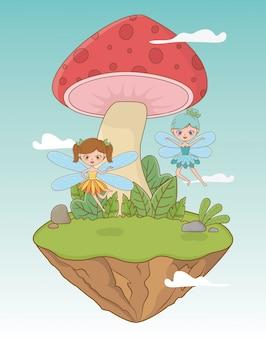 Fairytale landscape scene with fungus and fairies