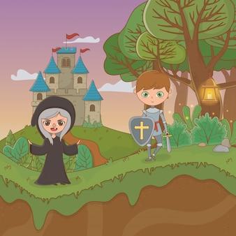 Fairytale landscape scene with witch and warrior