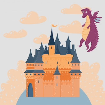 Fairytale landscape with a castle and flying dragon. fantasy palace tower.