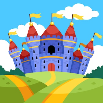 Castello magico da favola e campi verdi