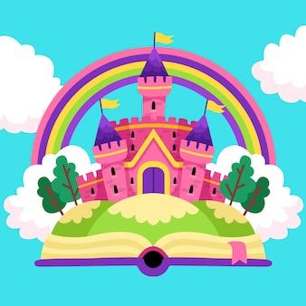 Fairytale magical castle and rainbow