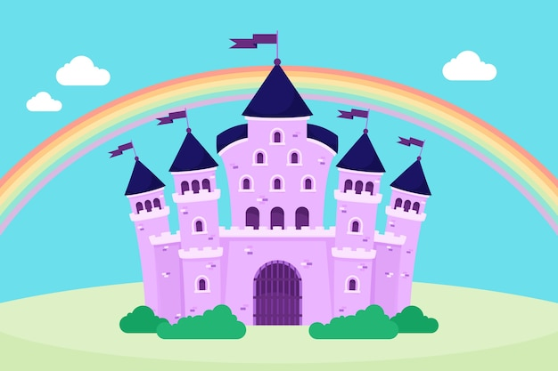 Fairytale magical castle rainbow