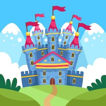 Сказочный волшебный замок с флагами