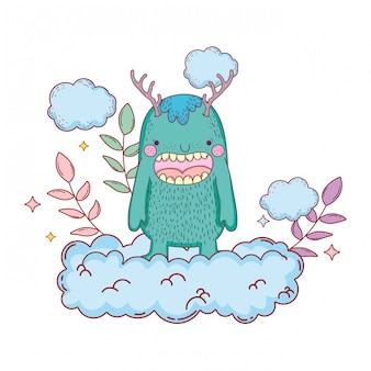 Fairytale monster with clouds character