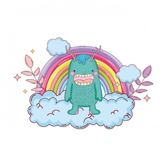 Fairytale monster with clouds and rainbow